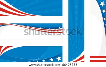 usa banners set - stock vector
