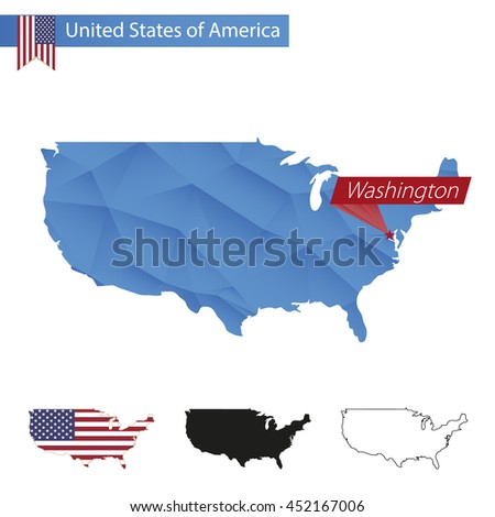 USA blue Low Poly map with capital Washington, versions with flag, black and outline. Vector Illustration. - stock vector