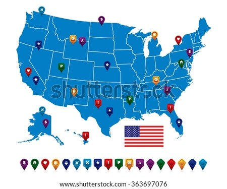 USA Blue Map - stock vector