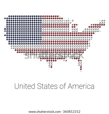 USA Border Map with Flag colors, dotted creative design. USA map. USA logo. USA shape. USA vector. USA flag. - stock vector