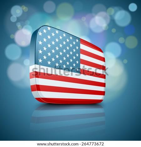 USA Button - stock vector
