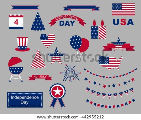 USA celebration flat national symbols set for independence day isolated o n gray background - stock vector