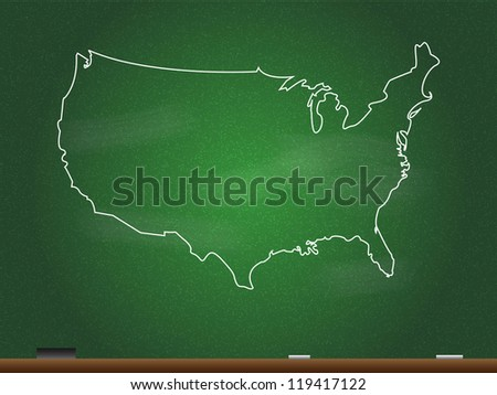 USA Chalkboard Map Vector - stock vector