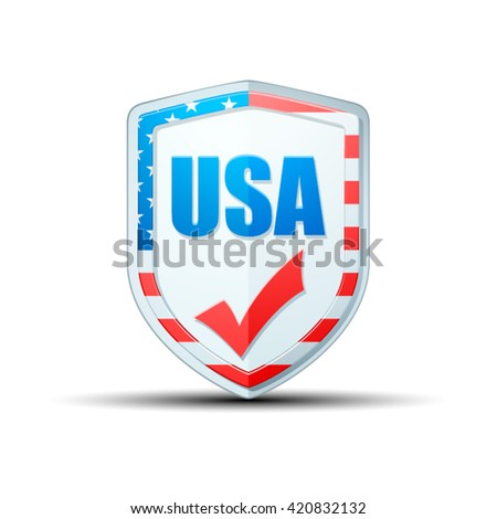 USA checkmark shield - stock vector