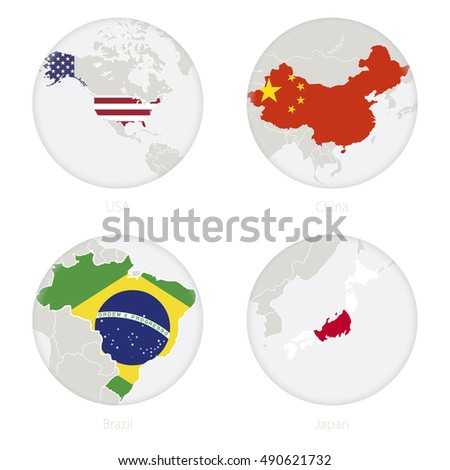 Usa China Brazil Japan Map Contour Stock Vector - Earth map us china