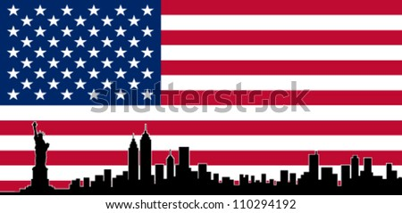 USA Colour Flag New York City Vector Skyline - stock vector