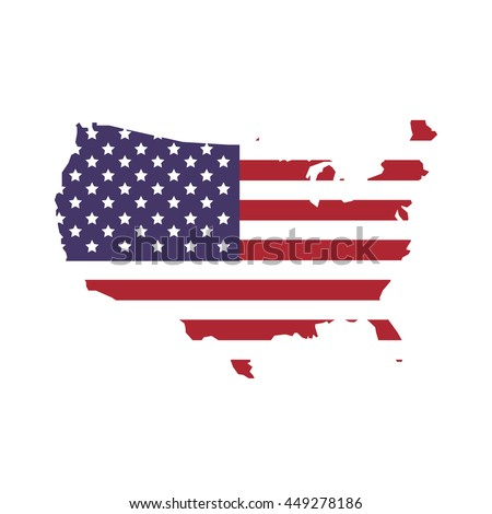 Usa Concept Represented By Map And Flag Icon Isolated And Flat Ilration