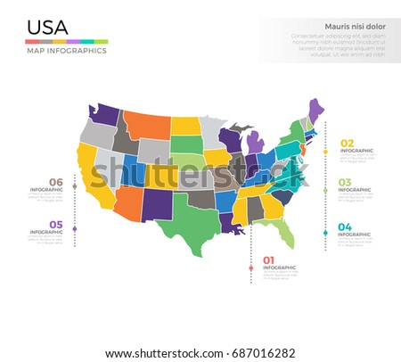 United States America Map Concept Infographic Stock Vector - Usa country map