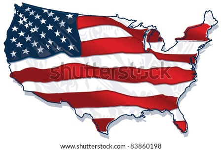 USA country-Shaped Flag - stock vector