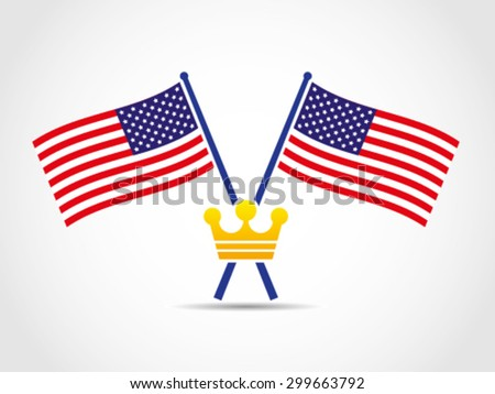 USA Crossed Flags Emblem King