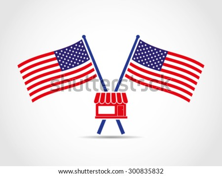 USA Crossed Flags Emblem Store Market Trade - stock vector