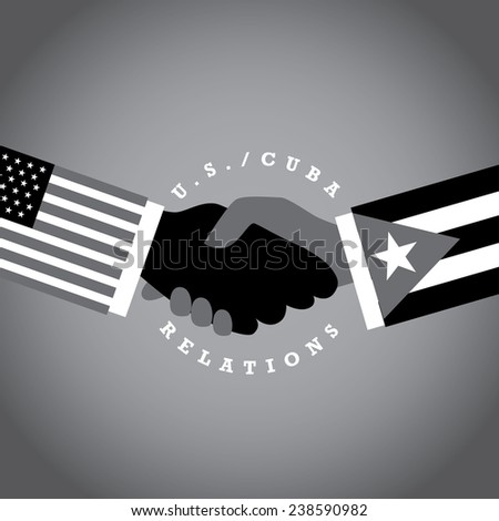 USA Cuba relations black and white hands EPS 10 vector stock illustration - stock vector