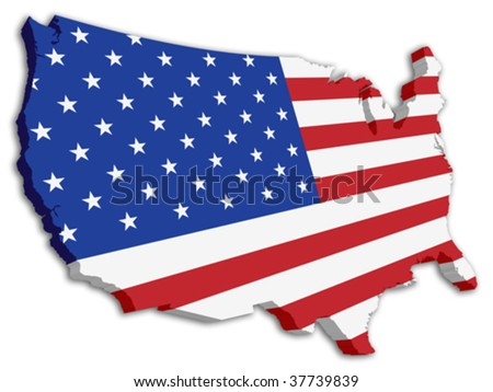 USA 3D State Flag map - stock vector