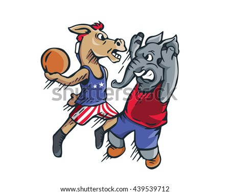 USA Democrat Vs Republican Election 2016 Cartoon -  Political Basketball Jam - stock vector
