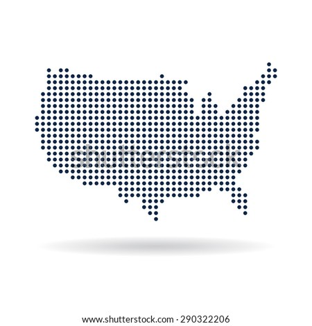 USA dot map. Concept for networking, technology and connections - stock vector