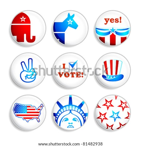USA election campaign badges isolated over white - stock vector