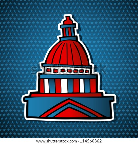 USA elections capitol building facade icon in sketch style over blue stars background. Vector file layered for easy manipulation and custom coloring. - stock vector