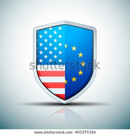 USA & EU shield sign - stock vector