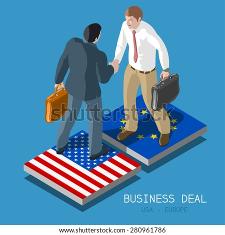 USA Europe Transatlantic Trade and Investment Partnership TTIP Handshake to Succeed. Flat 3d Isometric Concept Two Businessmen Shaking Hands on Flag Tiles. Infographic - stock vector