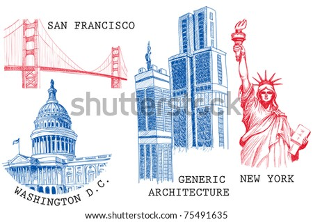 USA famous cities architecture and landmarks sketches: New York (Statue of Liberty), San Francisco (Golden Gate), Washington D.C. (United States Capitol) - stock vector
