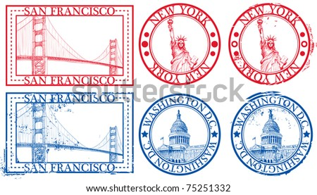 USA famous cities stamps with symbols: New York (Statue of Liberty), San Francisco (Golden Gate), Washington D.C. (United States Capitol) - stock vector