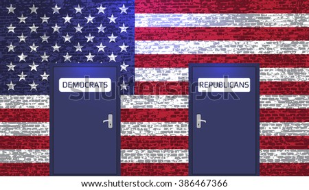 USA flag and split the Democrats and Republicans. - stock vector