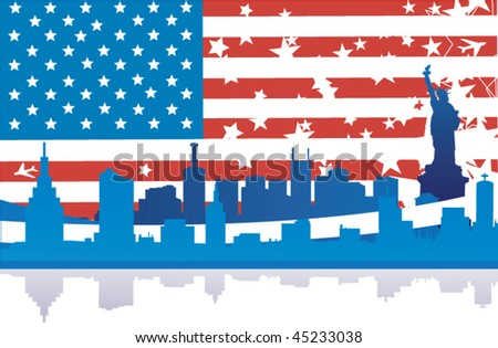 USA Flag and the City