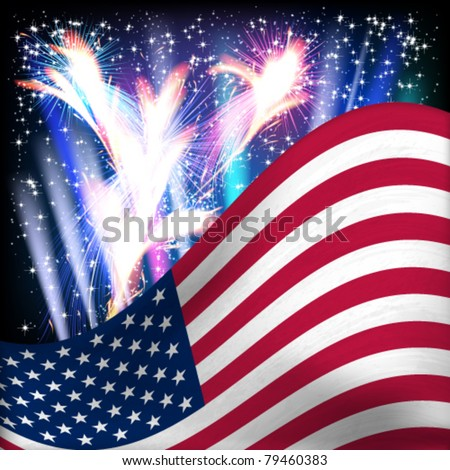 USA flag background. Fireworks in the night starry sky. Vector illustration. - stock vector