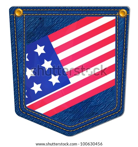 USA Flag Blue Jean Pocket - Jean Pocket decorated with the USA flag and gold stitching - stock vector