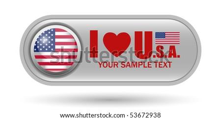 USA Flag Button Icon with Copy Space - stock vector