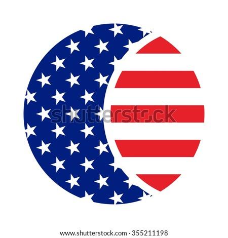 usa flag circle shape logo vector stock vector 355211198 shutterstock rh shutterstock com us flag logo us flag logo's