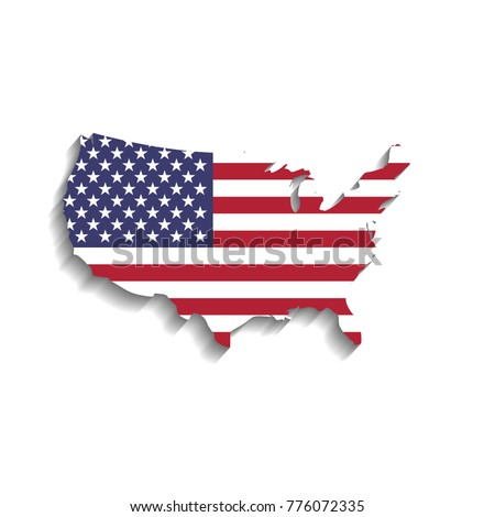 USA Flag Shape US Map Silhouette Stock Vector (Royalty Free ...