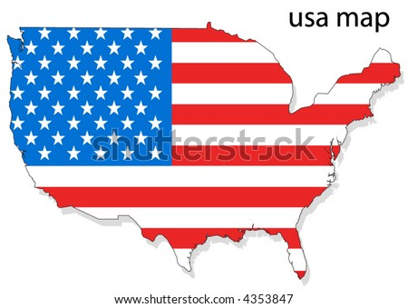 USA flag in map - stock vector