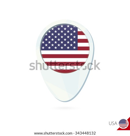 USA flag location map pin icon on white background. Vector Illustration. - stock vector
