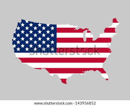 USA flag map - stock vector