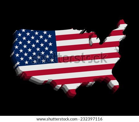 USA flag map vector on black background - stock vector