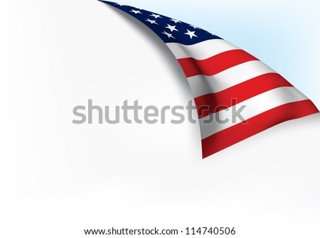 USA flag Page Turn - stock vector