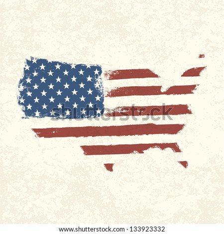 USA flag. Shape of american map. Vector, EPS10 - stock vector