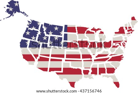 USA flag. Shape of american map. Vector,Flag of America, on white background - stock vector