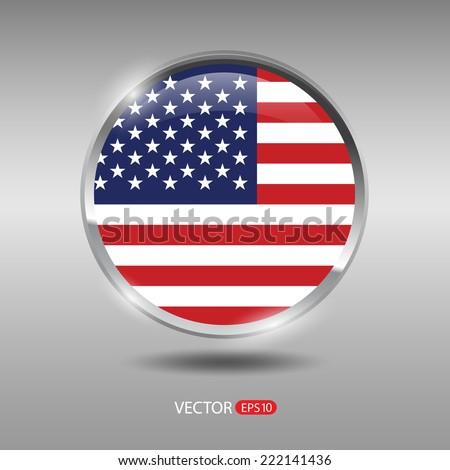 USA flag, shiny, glossy metal vector badge - stock vector