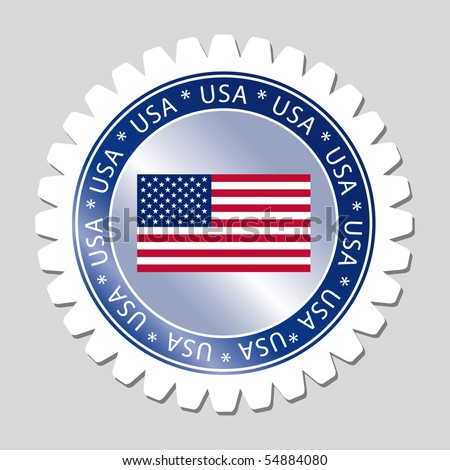 USA Flag Sign Label