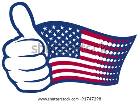 USA flag (United States of America). Hand showing thumbs up. - stock vector