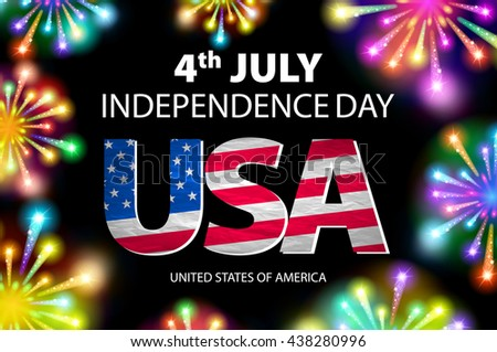 USA flag with fireworks background. Happy 4th July independence day with fireworks background. vector art - stock vector