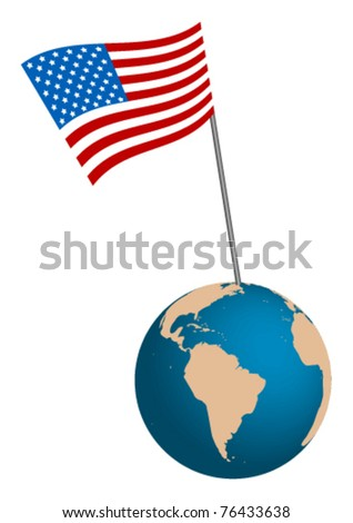 USA Flag with globe on white background - stock vector
