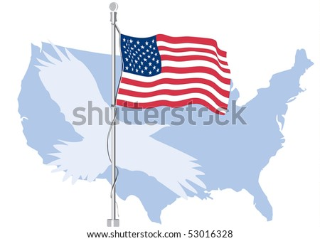 USA flag with map and silhouette of eagle - stock vector