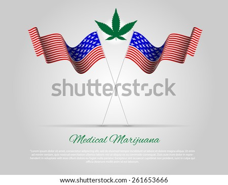 USA Flag with Marijuana and place for text