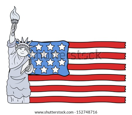 USA Flag with Statue of Liberty - 4th of July Vector Illustration - stock vector