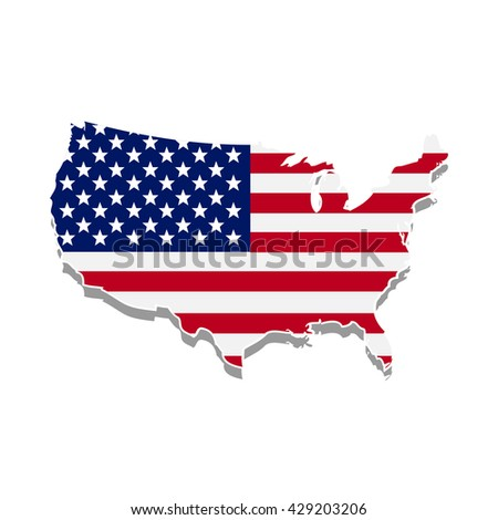 USA flag with USA map shape