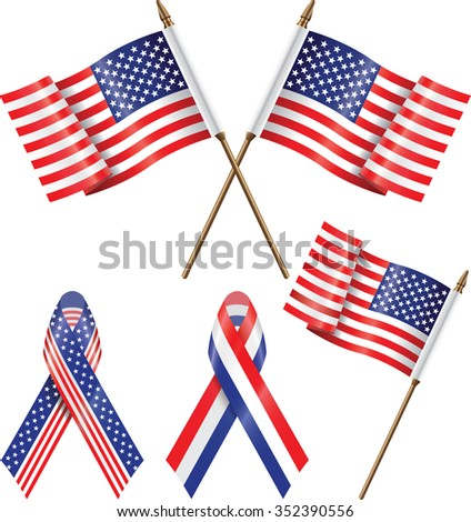 USA flags and ribbons