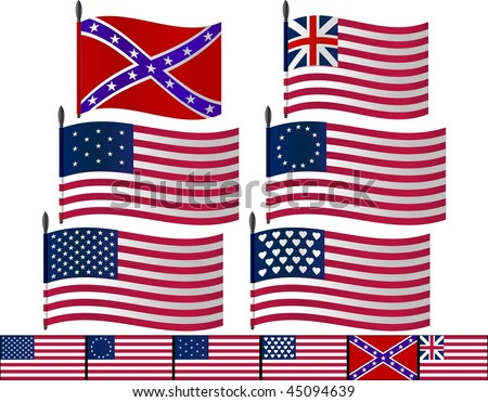 USA flags. vector illustration for web - stock vector